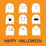 Veille de la toussaint heureuse Ensemble mignon d'icône d'Emoji de fantôme émoticônes Personnages de dessin animé drôles de kawai Photos libres de droits