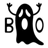 Veille de la toussaint heureuse Fantôme noir drôle de vol avec des mains Boo Text Carte de voeux Personnage de dessin animé migno illustration stock
