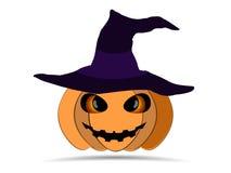 Veille de la toussaint heureuse Potiron dans le chapeau du ` s de sorcière d'isolement sur le fond blanc Icône de lanterne de Jac illustration stock