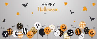 Veille de la toussaint heureuse Tour ou festin boo Ballons à air effrayants Le concept de vacances avec le fantôme de confettis d illustration de vecteur