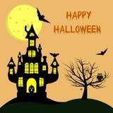 Veille de la toussaint heureuse Un château de la sorcière s avec un potiron, près d'un arbre, d'un hibou, des araignées et des to illustration stock