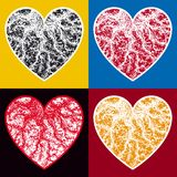 Veined hearts. The set of stylized hearts Stock Photography
