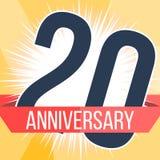 Veinte años de bandera del aniversario vigésimo logotipo del aniversario Ilustración del vector Imagen de archivo libre de regalías