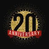 Veinte años del aniversario de logotipo de la celebración vigésimo logotipo del aniversario Foto de archivo