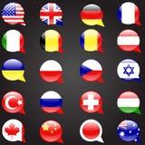 Veinte banderas fijaron la bandera de la burbuja del discurso de las idiomas Fotos de archivo