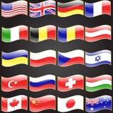 Veinte banderas fijaron lengua ondulada de la bandera Imagenes de archivo