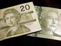 Veinte billetes de banco del dólar (canadienses) Imagenes de archivo