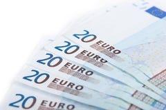 Veinte billetes de banco euro Imagenes de archivo