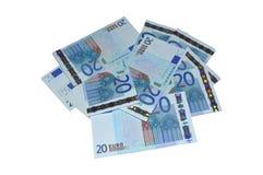 Veinte billetes de banco euro fijados Fotos de archivo libres de regalías