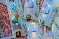 Veinte billetes de banco euro, nuevo diseño, detalles de seguridad Imagen de archivo libre de regalías