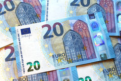 Veinte billetes de banco euro, nuevo diseño 2015, unión europea Fotografía de archivo