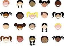 Veinte caras de diversos niños. Imagen de archivo libre de regalías