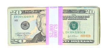 Veinte cuentas de dólar Imagenes de archivo