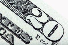 Veinte cuentas de dólar de los E S billete de dólar, tiro macro imagen de archivo libre de regalías