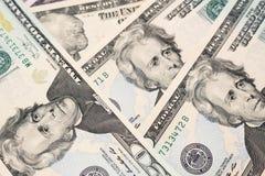 Veinte dólares de fondo de los billetes de banco Foto de archivo libre de regalías