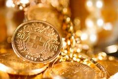 Veinte francos suizos de monedas Imagen de archivo