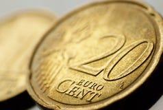 Veinte monedas euro del centavo Imagen de archivo libre de regalías