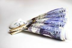 Veinte notas de la libra Banco de Inglaterra foto de archivo libre de regalías