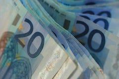 Veinte notas euro Fotos de archivo libres de regalías