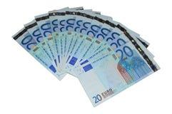 Veinte series euro de los billetes de banco Imagen de archivo libre de regalías