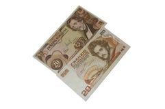 Veinte series 1967 y 1986 de los billetes de banco del chelín austríaco Imágenes de archivo libres de regalías