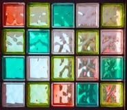 Veinte vidrios cuadrados coloreados en rectángulo Fotografía de archivo