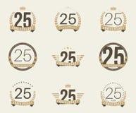 Veinticinco años del aniversario de logotipo de la celebración 25ta colección del logotipo del aniversario Foto de archivo libre de regalías
