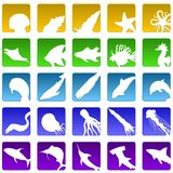 Veinticinco iconos del sealife stock de ilustración