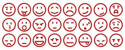Veinticuatro emoticons de la historieta - vector ilustración del vector