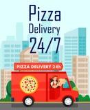 Veinticuatro horas de la pizza de la entrega de cartel del vector ilustración del vector