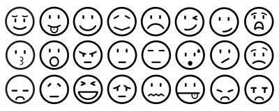 Veinticuatro smilies, fijaron la emoción sonriente, por los smilies, los emoticons de la historieta - vector Foto de archivo libre de regalías