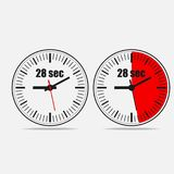 Veintiocho segundos contadores de tiempo Icono del cronómetro stock de ilustración