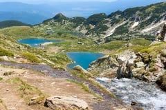 Veiw aereo della capanna dei laghi Rila, Bulgaria Immagini Stock