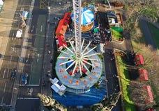 Veiw de Ariel do festival do Natal no centro de cidade de Edimburgo Foto de Stock