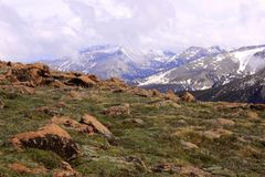 Veiw della montagna in sorgente in anticipo Fotografia Stock