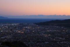 Veiw di notte e di tramonto da una montagna Fotografia Stock Libera da Diritti
