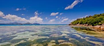 Veiw do praslin do digue do la, seychelles Fotografia de Stock