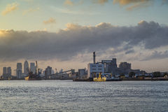 Veiw of the London. View of the Canary Wharf, Greenwich, sugar factory. London. United Kingdom Stock Image
