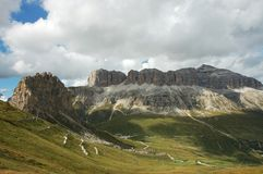 Veiw of massiv Sella in Dolomites. Royalty Free Stock Images