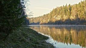 Veiw of mountain misty river landscape of Chusovaya river in siberia, Ural, Russia. 4k stock footage