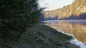 Veiw of mountain misty river landscape of Chusovaya river in siberia, Ural, Russia. Slider, 4k stock footage