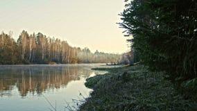 Veiw of mountain river landscape of Chusovaya river in siberia, Ural, Russia. Slider, 4k stock footage