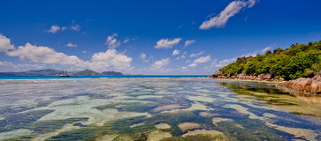 Veiw of praslin from la digue,seychelles. A veiw of the island of praslin from the island of la digue in the seychelles Stock Photography
