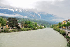 Veiw of river Salzach, Salzburg Stock Photos