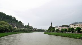 Veiw of river Salzach, Salzburg Royalty Free Stock Photo