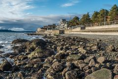 Rocky Shoreline 2. A veiw of the rocky shoreline in West Seattle, Washington Stock Images