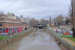 Veiw to canal sluce in Paris Stock Photos