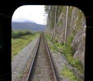 Veiw van het achtergedeelte van een trein Stock Afbeelding