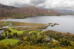 Veiw from a viewpoint high above Derwent Water; Lake District; C Royalty Free Stock Photo