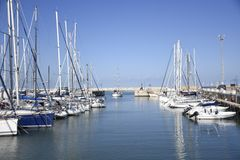 Veja, céu, barco, iate, Itália Imagens de Stock